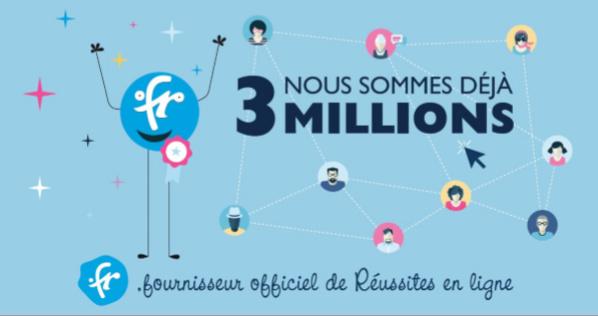 Le .fr passe la barre des 3 000 000 !