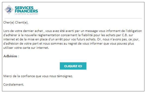 Apercu de l'e-mail frauduleux