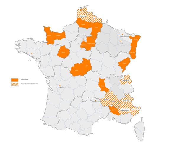 En Orange: Zones Ouvertes / Zones Orange hachurées : Ouverture commerciale prochaine