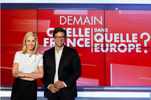 Débat animé par Laurence Ferrari (CNEWS) et Matthieu Belliard (EUROPE 1) © Raphaël RIPPE / CNEWS