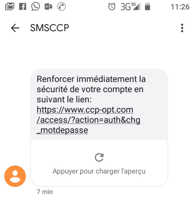 Aperçu du SMS frauduleux