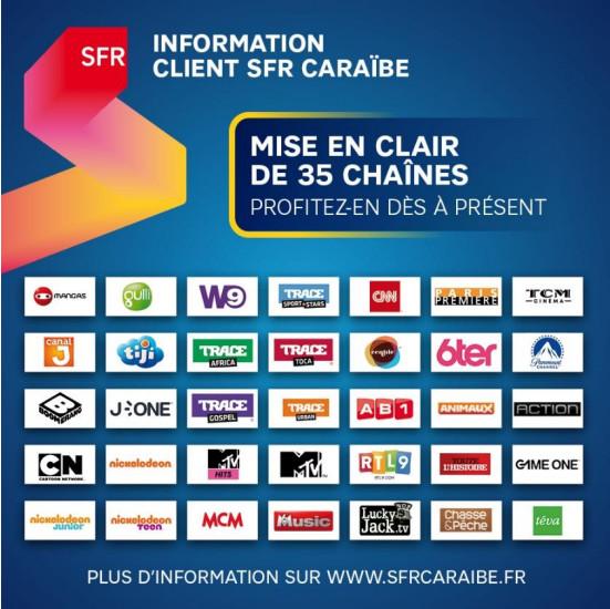 Antilles-Guyane: SFR met en clair 35 chaînes pour ses abonnés