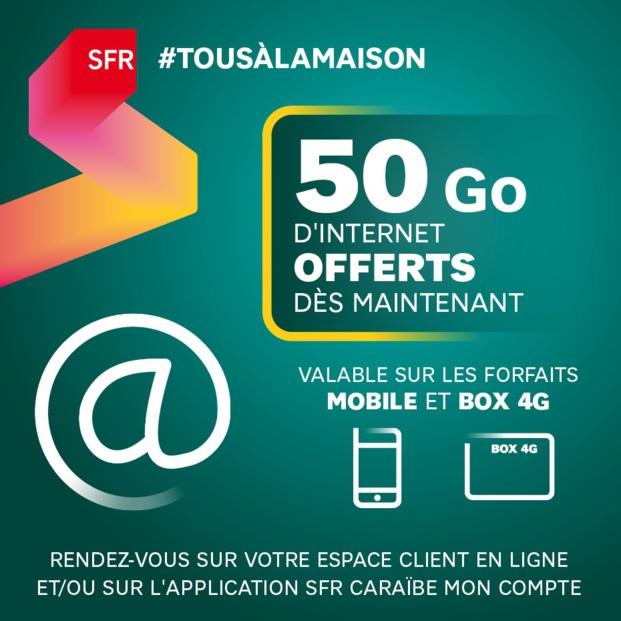 SFR Caraïbe offre 50 Gigas d'internet à ses clients détenteurs d'un forfait mobile ou d'une box 4G