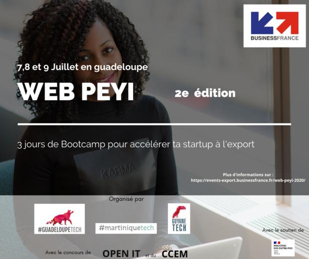 Evènement: Web Péyi, 3 trois jours de Bootcamp pour accélérer ta startup à l'export, du 7 au 9 juillet en Guadeloupe