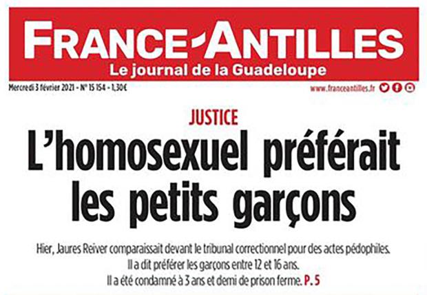 France-Antilles fait polémique avec sa une liant homosexualité et pédocriminalité