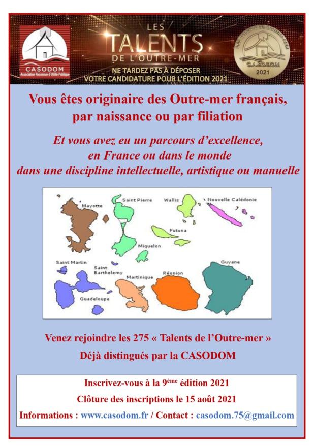CASODOM: Appels à candidature pour les Talents de l'Outre-mer 2021