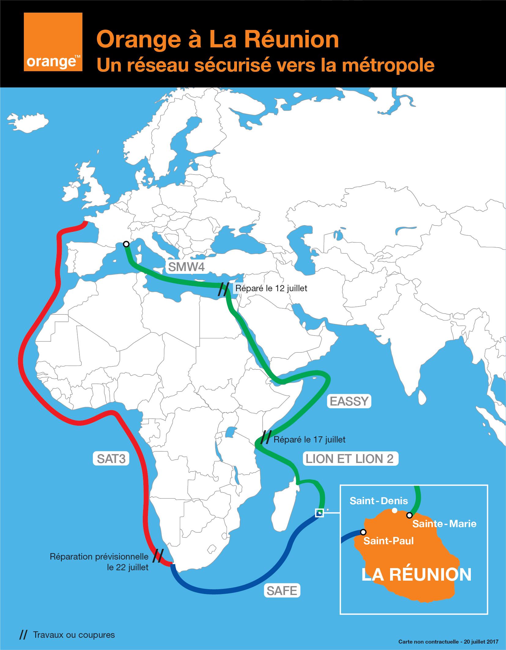 Le trafic internet est revenu à la normale sur les réseaux d'Orange à la Réunion.