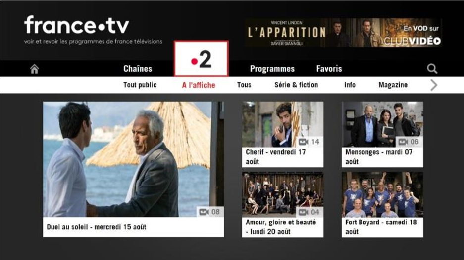 Nouvelle interface Replay France 2