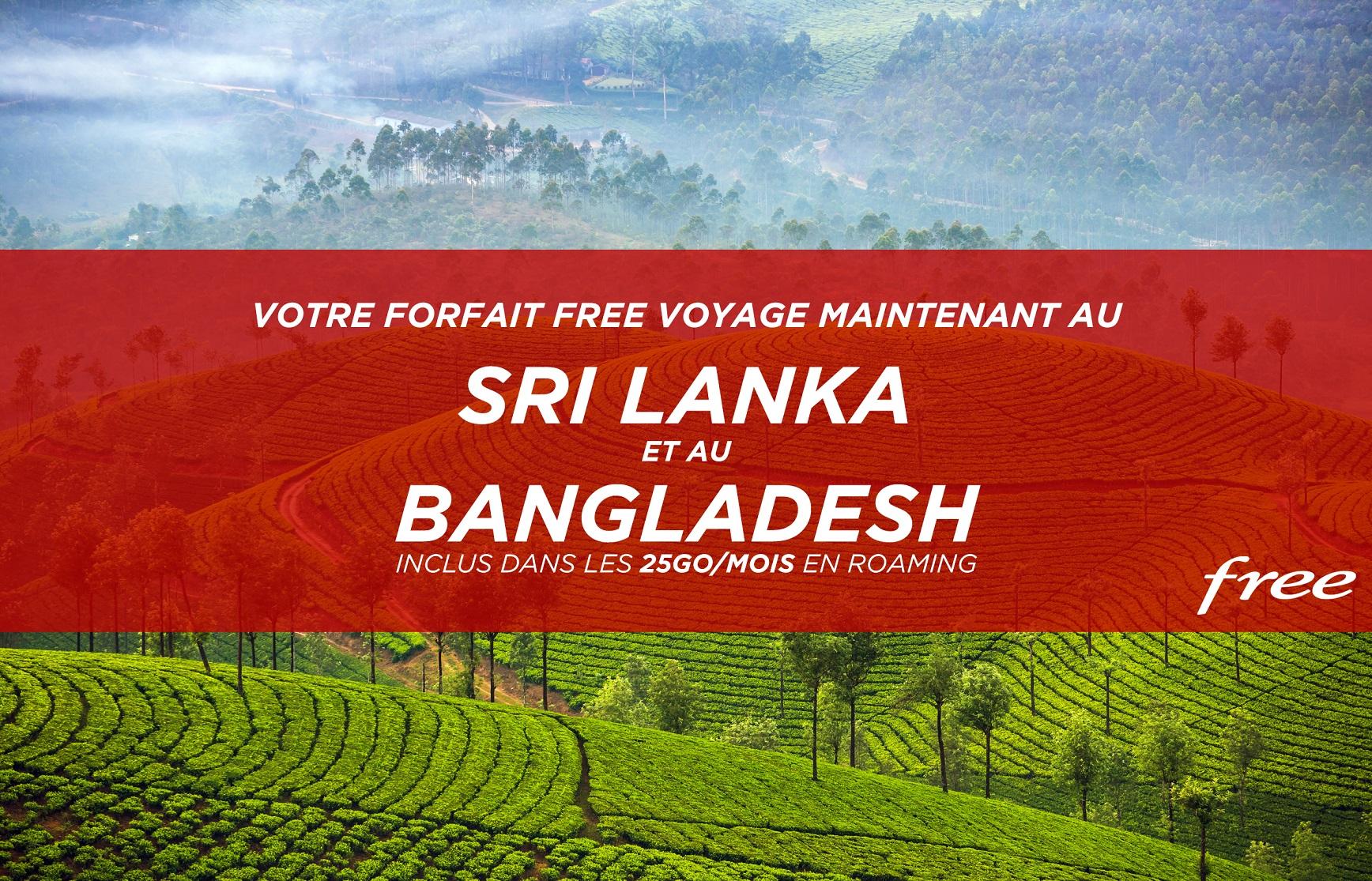 Forfait Free : le Sri Lanka et le Bangladesh inclus dans les 25Go/mois de data en roaming