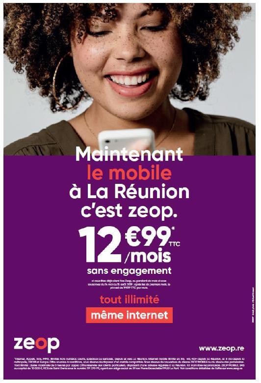 La Réunion: Zeop lance dés aujourd'hui son forfait mobile tout illimitée pour 12,99€/mois
