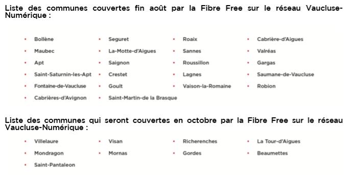 La Fibre Free désormais disponible sur le RIP Vaucluse-Numérique