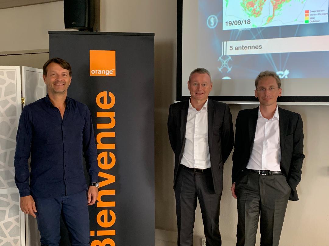 Sur la photo: Pierre Clément (Directeur entreprise France), Franck Rabourg (Directeur Agence Entreprise Réunion-Mayotte) et Olivier Wioland (Directeur Marketing Réseau Mobile Orange Business Services) © Megazap