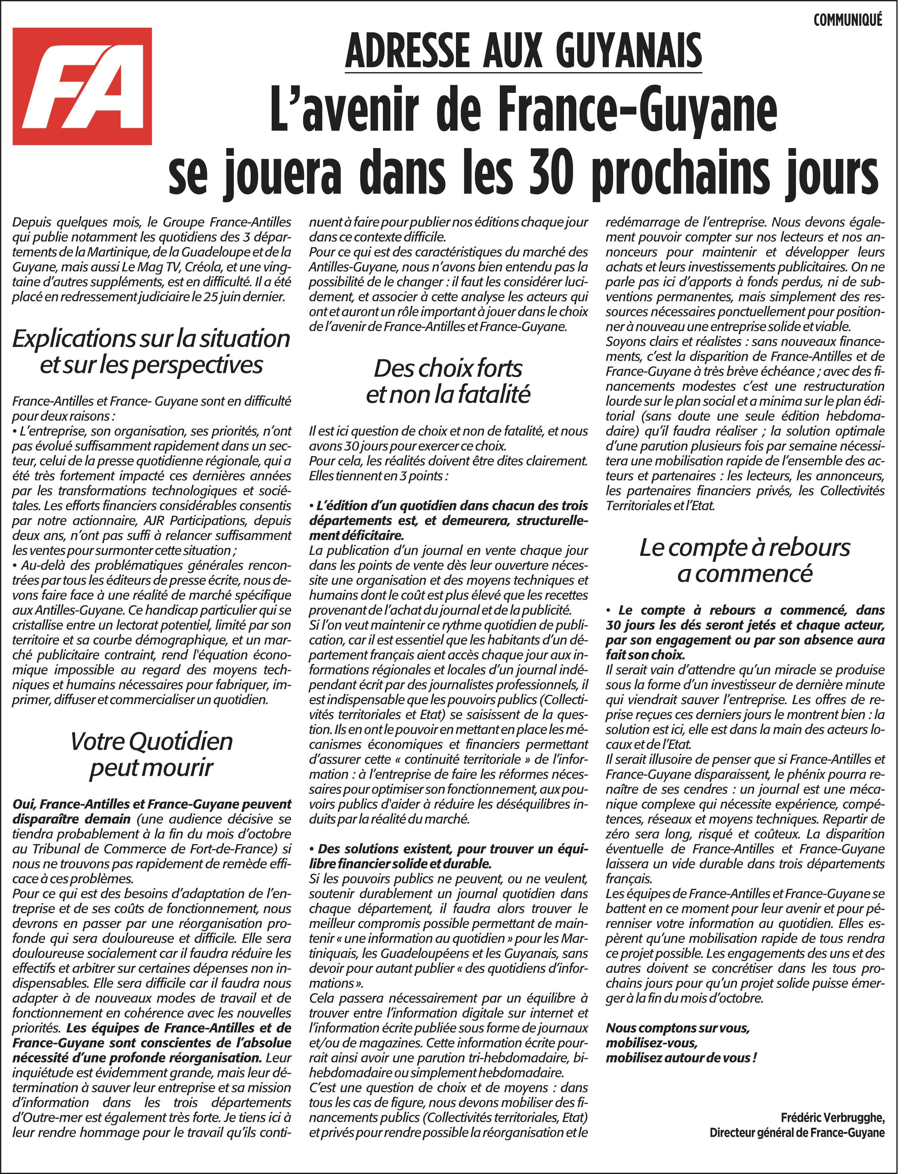 France-Antilles en grande difficulté