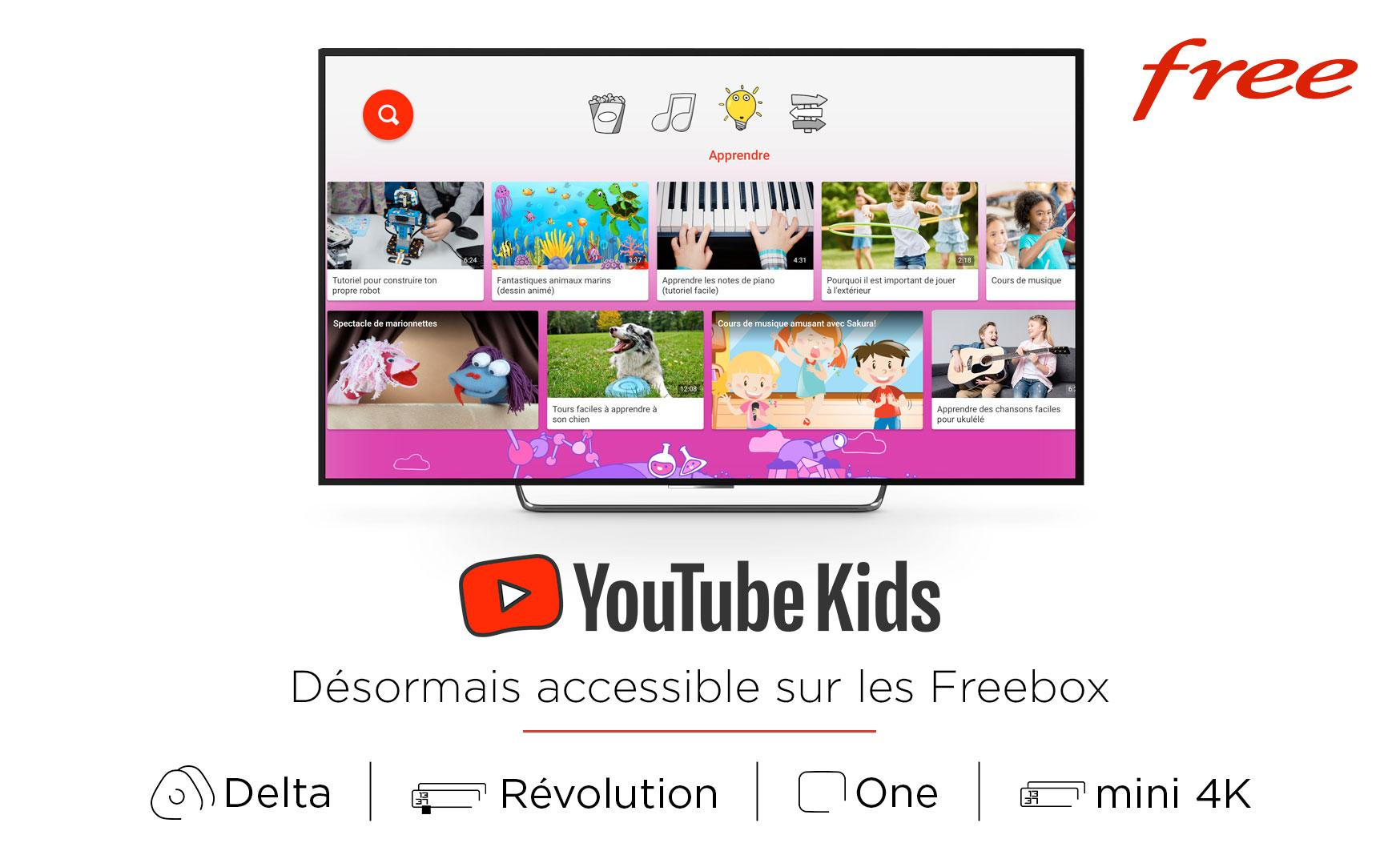 YouTube Kids désormais accessible sur les Freebox