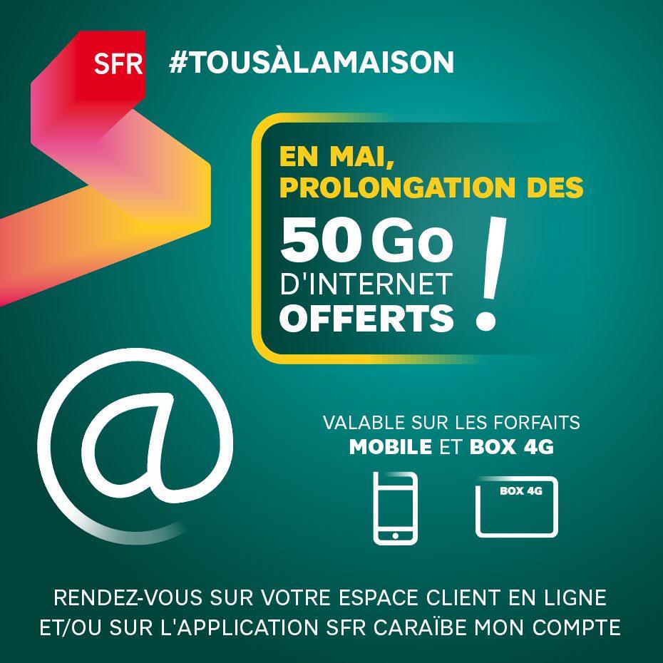 Antilles-Guyane: SFR offre de nouveau 50 Gigas d'internet à ses clients détenteurs d'un forfait mobile ou d'une box 4G