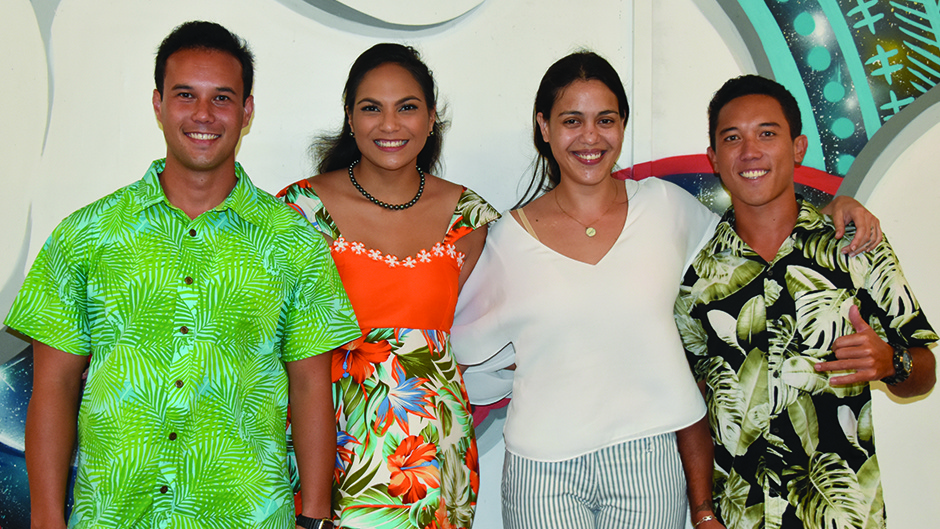 Les lauréats: Heiarii TAHIATA, Herevai HOATA, Kaline LIÉNARD et Ariihoe TEFAAFANA