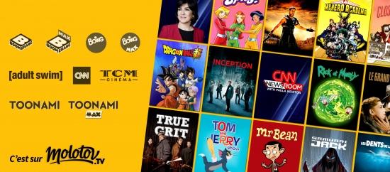 Molotov renouvelle et étend son accord de distribution avec les services Adult Swim, Toonami, TCM Cinéma, CNN International, Boomerang et Boing