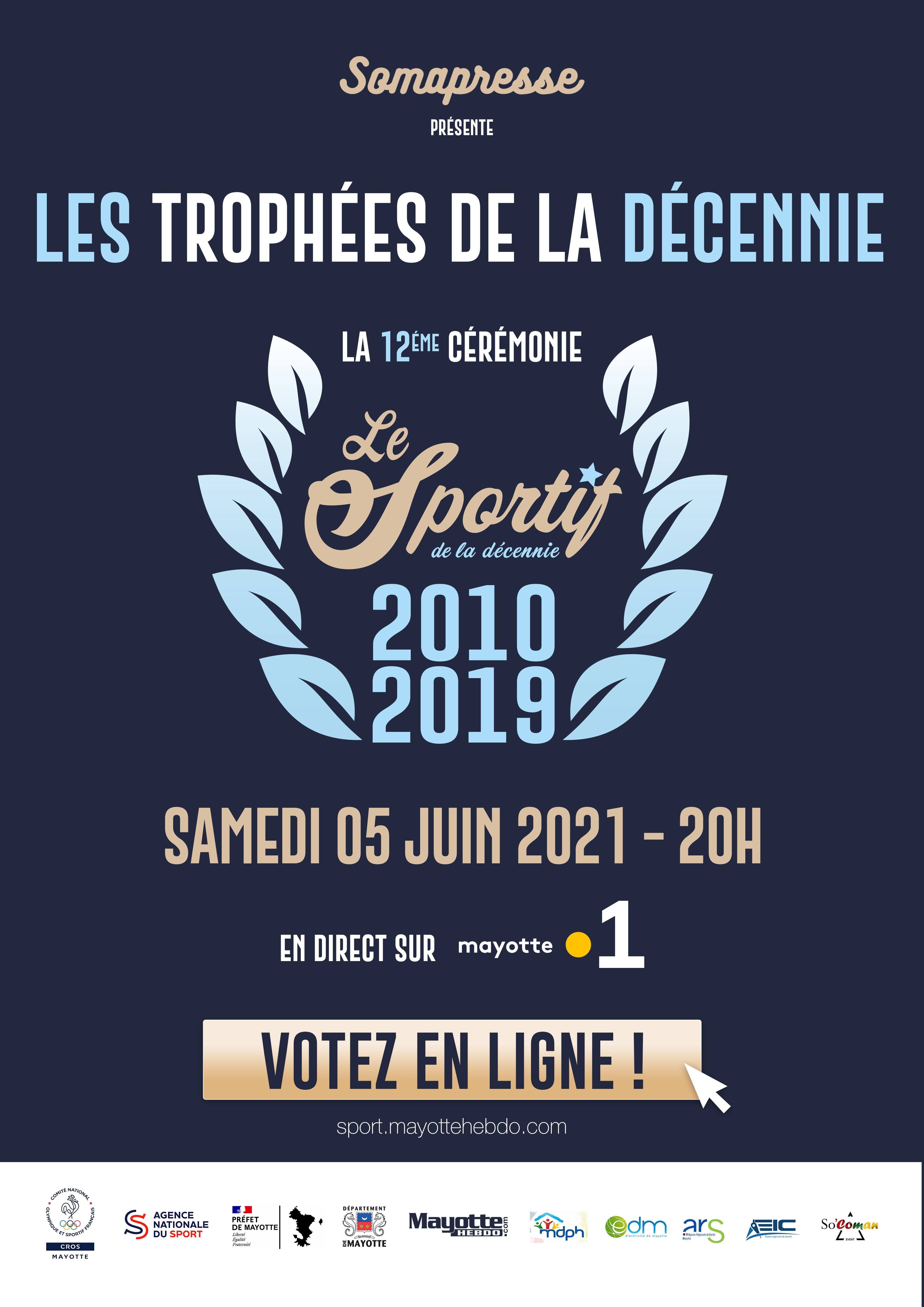 Évènement: La 12e cérémonie du Sportif de la décennie retransmise en direct sur Mayotte La 1ère le 5 juin