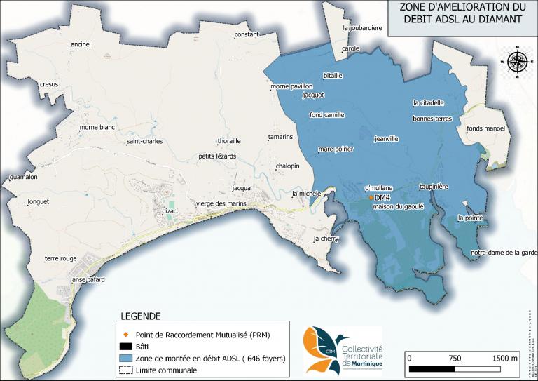 Martinique: Montée en débit ADSL aux Diamants