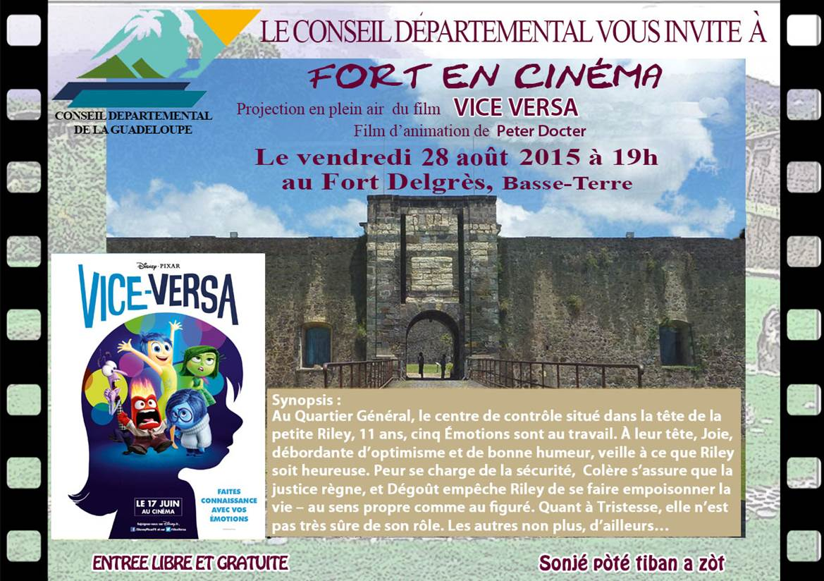 """Guadeloupe: Nouvelle édition du """"Fort en Cinéma"""" avec la projection du film d'animation """"Vice Versa"""""""