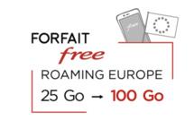 Forfait mobile Free : Free offre 4 fois plus de data 4G soit 100 Go/mois à ses abonnés bloqués en Europe
